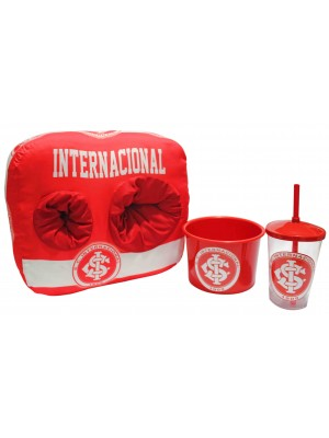 KIT ALMOFADA PORTA PIPOCA DO SPORT CLUB INTERNACIONAL - COMP: 40CM X LARG: 40CM